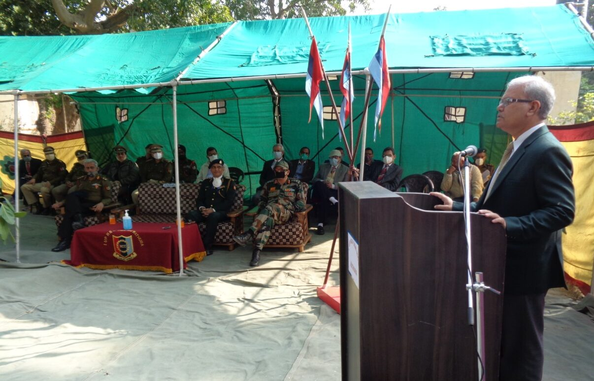 Honourable Vice Chancellor Col (Prof) GK Singh addressing on the occasion of 242nd RVC raising day celebration organised by 1UP  R&V SQN NCC Mathura