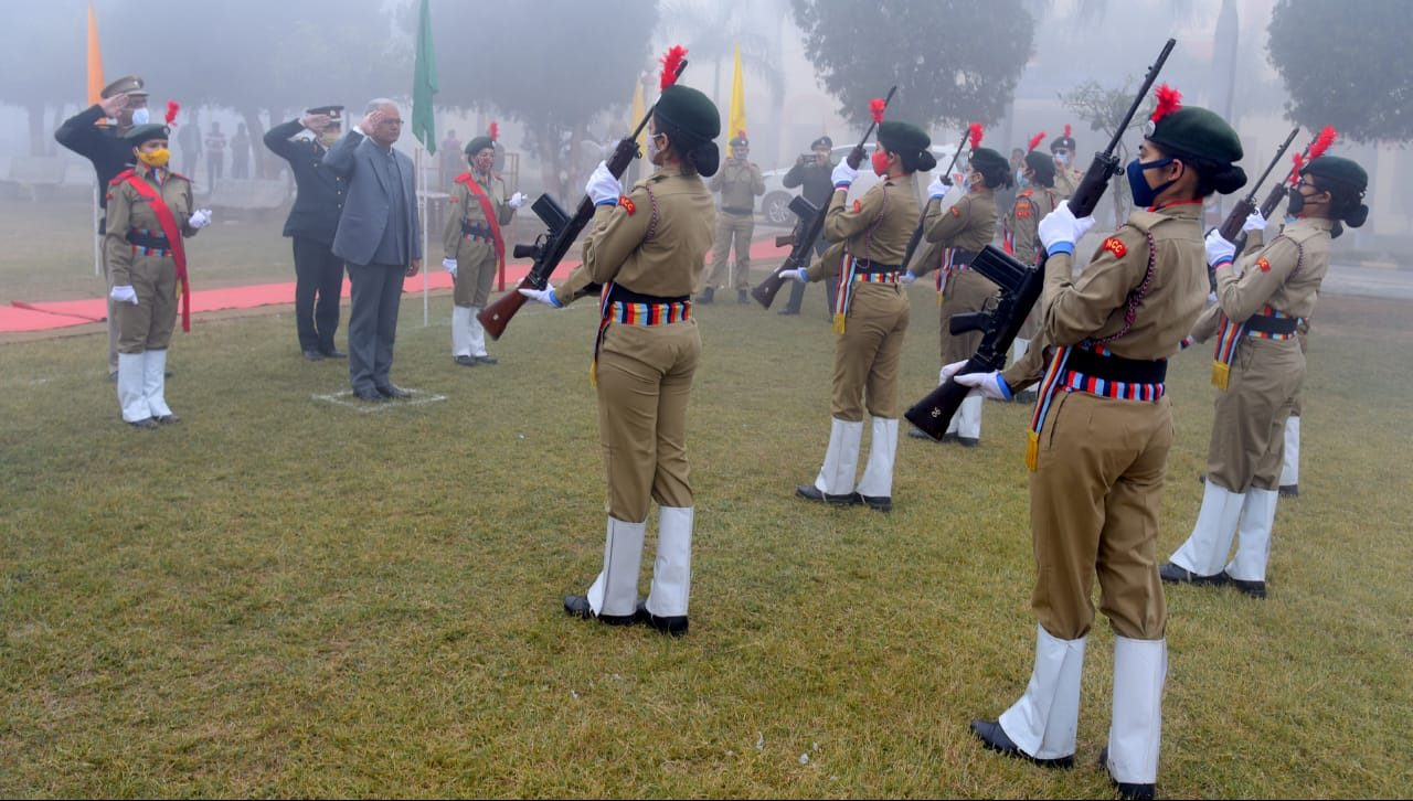 Guard of honor to Honorable Vice Chancellor by NCC cadets on the occasion of Republic Day