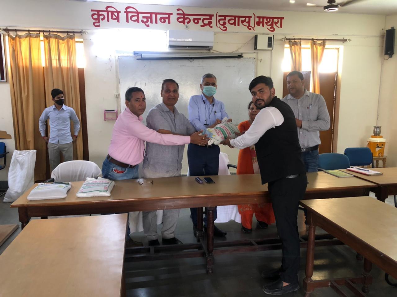 Moong seed distribution under CFLD at KVK DUVASU Mathura on 16 th March 2021