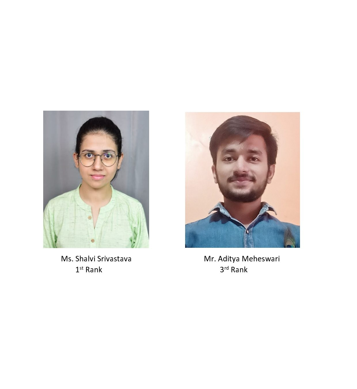 Students Shalvi Srivastava and Aditya Maheswari bagged 1st and 3rd rank respectively in All India Online Essay writing competition