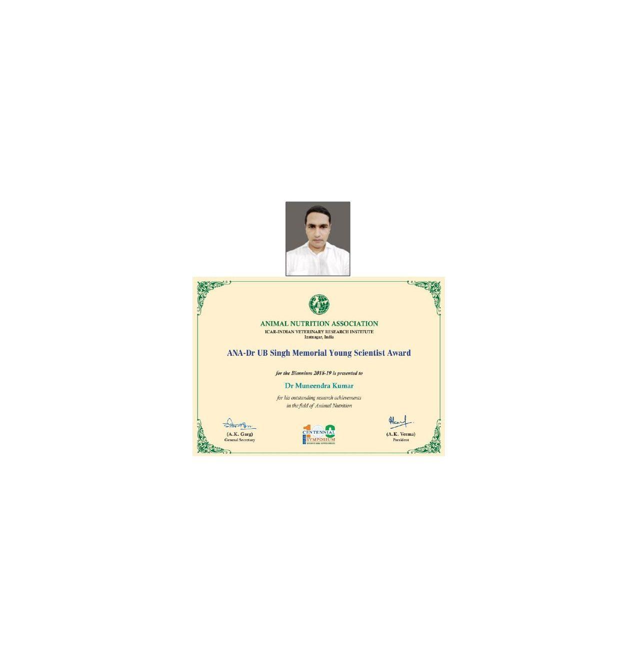 ANA -Dr UB Singh Memorial Young Scientist Award Dr. Muneendra Kumar